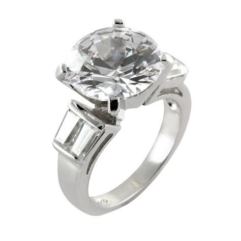 cubic zirconia  baguette solitaire engagement ring