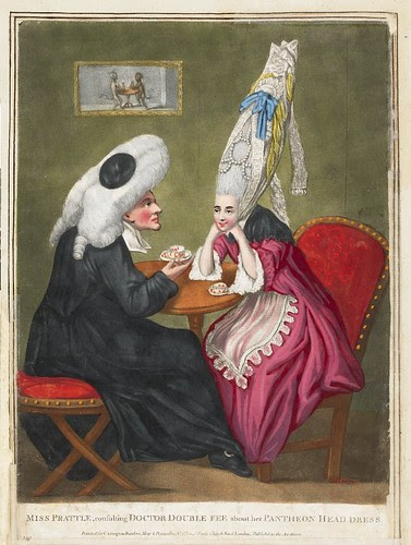 Miss Prattle, consulting Doctor Double Fee about her Pantheon Head Dress 1771