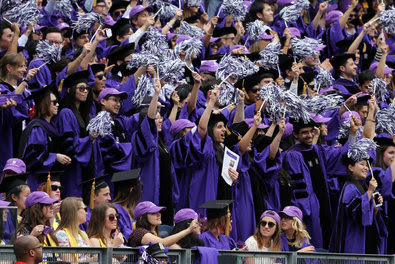 Now come the payments: Forty million people  hold student loans, with outstanding debt at $1 trillion. Above, the New York University commencement at Yankee Stadium.