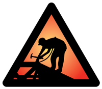 triangular safety sign with rooftop construction worker silhouette