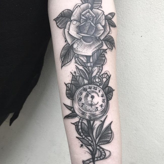 Rose And Pocket Watch Tattoo