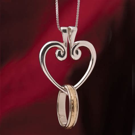 Sterling Silver Hinged Heart Ring Holder Pendant Necklace