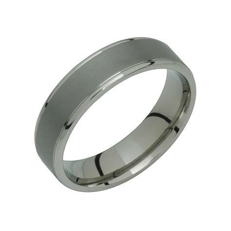 Trendy Titanium Ring Comfort Fit 6mm Wide Polished Edges