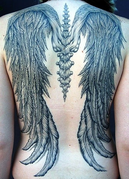 Angel Wings Tattoo With Cross Tattoo Bytes