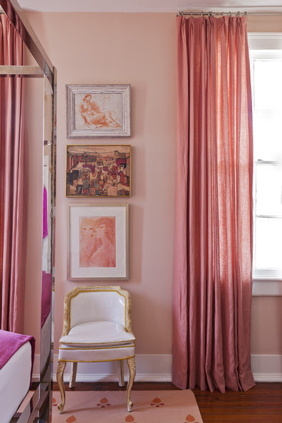 Bedroom - A French-style accent chair beside pink curtains