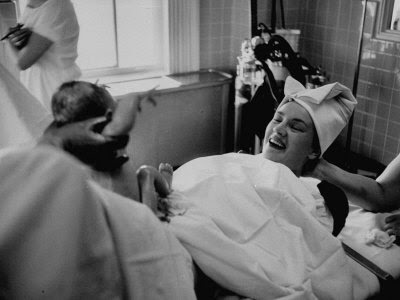 Mother Giving Birth under Hypnosis Photographic Print