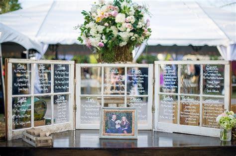 Wedding window seating chart on display.   [Wedding