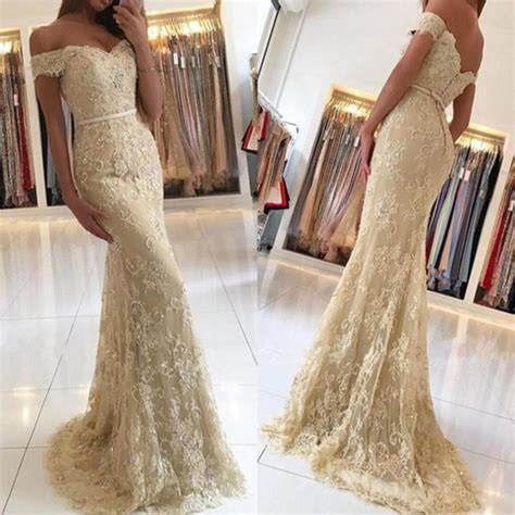 Off Shoulder Champagne Lace Mermaid Evening Prom Dresses