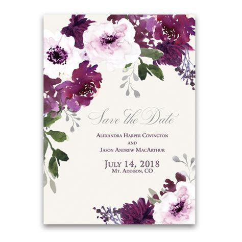 Burgundy Plum Floral Watercolor Save the Date Cards