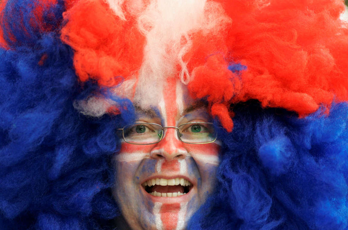 A supporter of the Icelandic handball team laughs ahead of a Group Two match of the men's European Handball Championship between Spain and Iceland in the Spektrum hall in Trondheim, Norway, on Thursday, Jan. 24, 2008. (