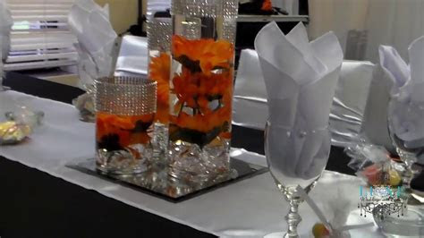 Beautiful Fall Orange Black and White Wedding Decor by