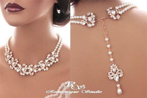 Bridal Backdrop Necklace ROSE GOLD Crystal Wedding