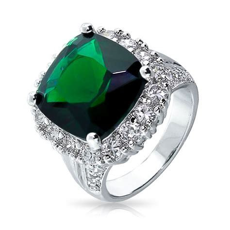 Vintage Style Emerald Color CZ Cocktail Ring