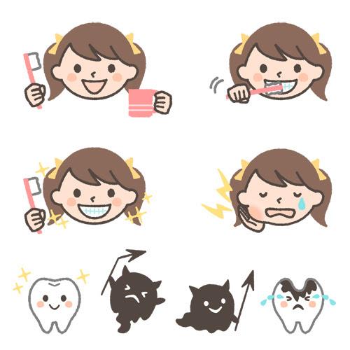 歯磨き虫歯のイラストセット女の子ver 可愛い無料イラスト