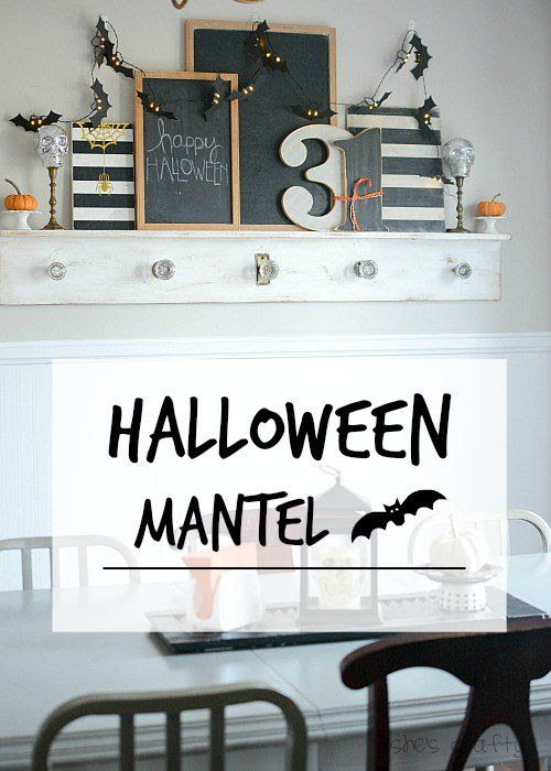 halloween, Halloween decor, mantel, Halloween mantel, black and white home decor