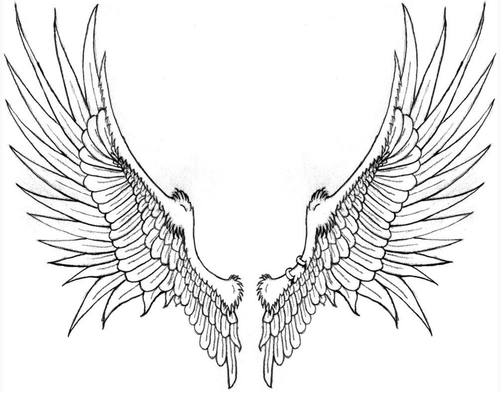 Grey Ink Angel Wings Tattoos Design