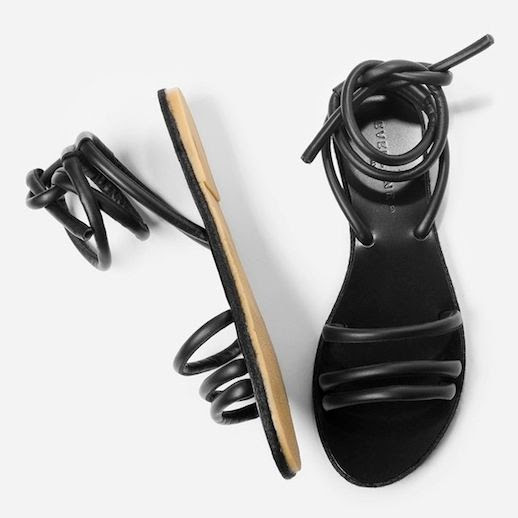 Le Fashion Blog Everlane The Knot Sandal Black Ankle Wrap Flat Sandals