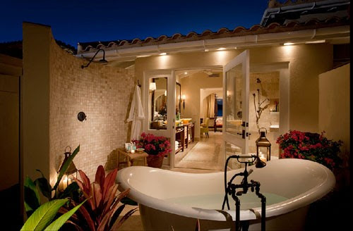 Shower Courtyard - tropical - bathroom - portland - by MCM Design