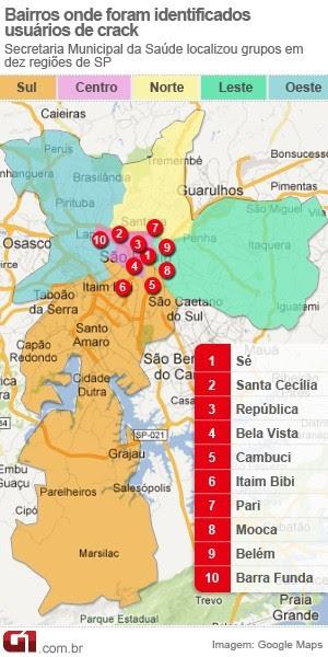 mapa_cracolandias_sao_paulo_300 (Foto: Editoria de Arte / G1)