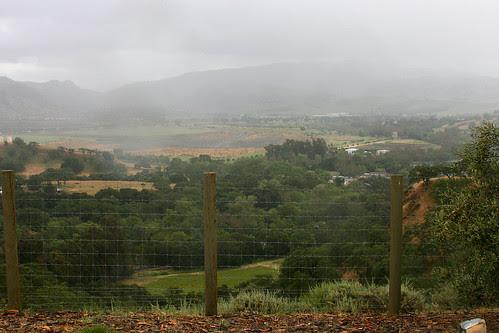 view with rain
