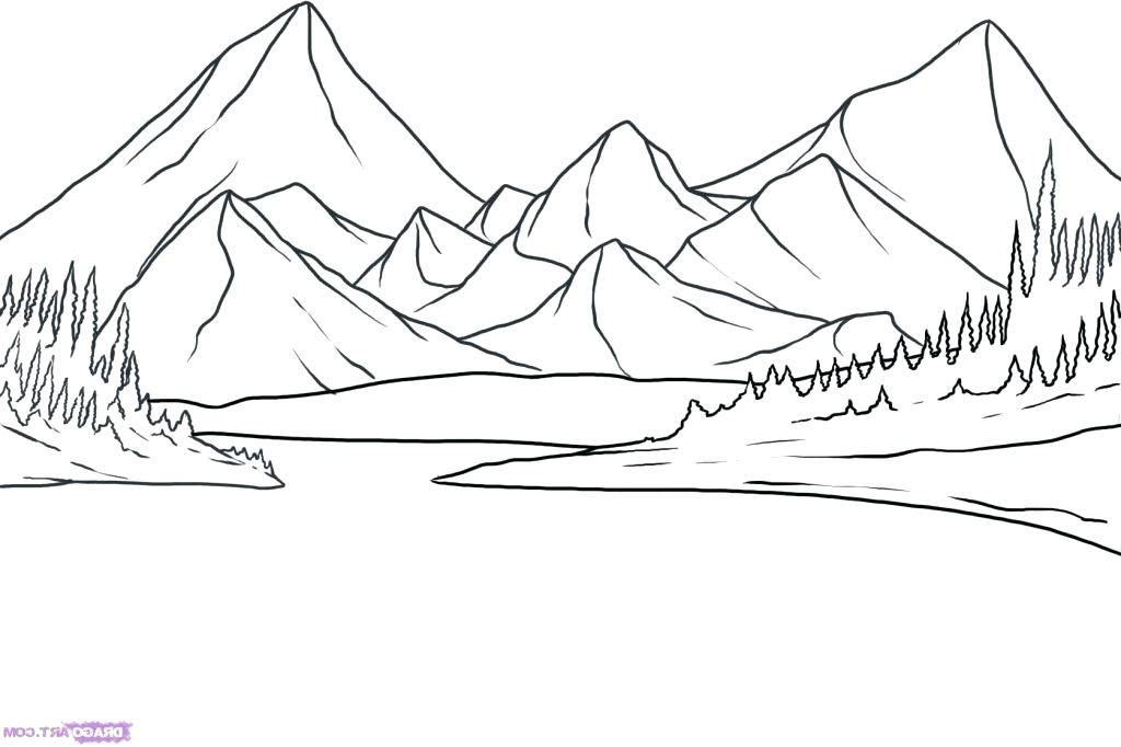 mountain landscape drawing 7