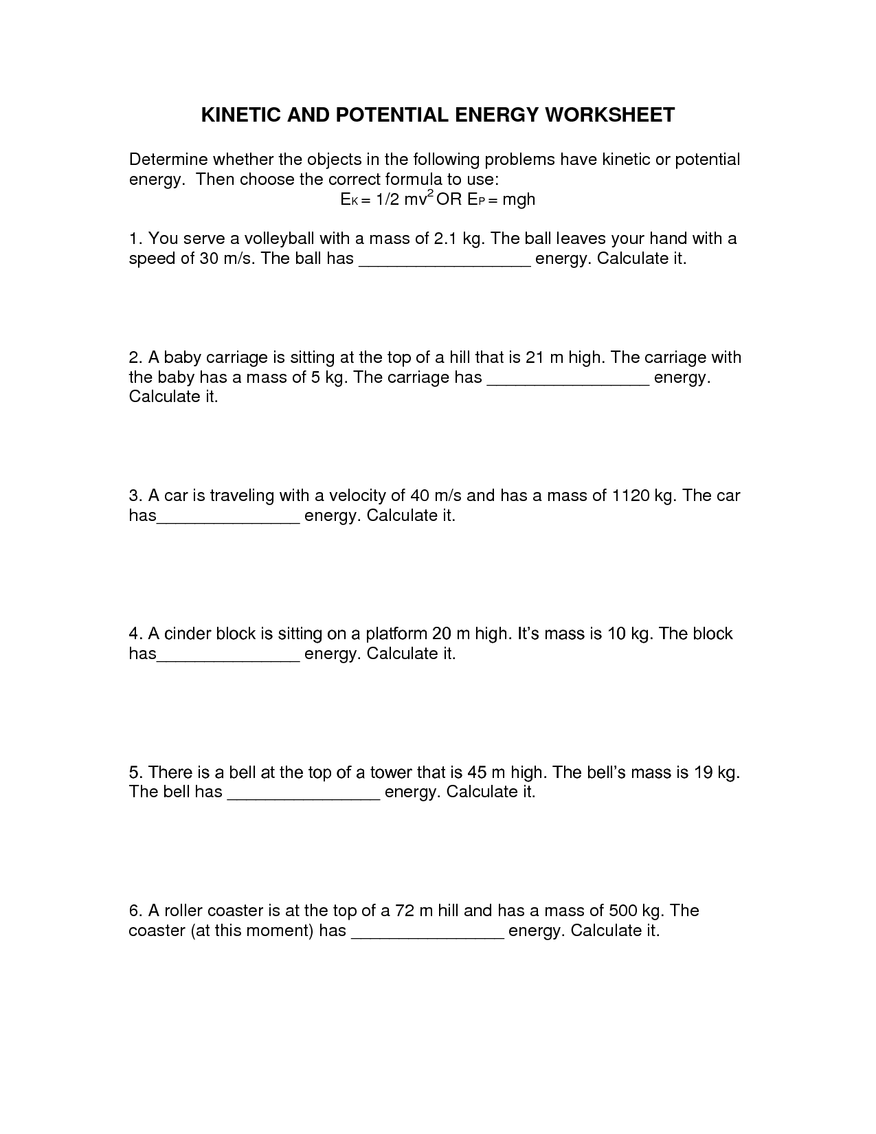 14 Best Images of Worksheets Potential And Kinetic Energy  Potential Energy Worksheets