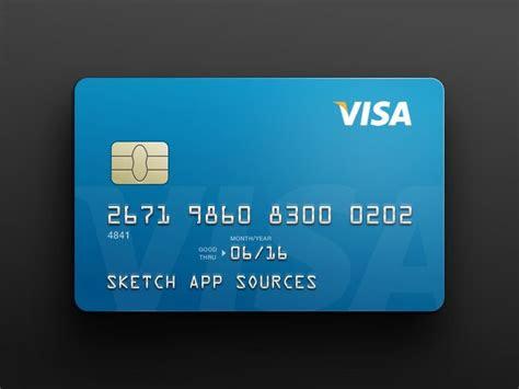 visa credit card template sketch freebie