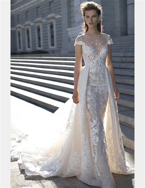 2016 Berta Wedding Dresses Detachable Skirt Cap Sleeves