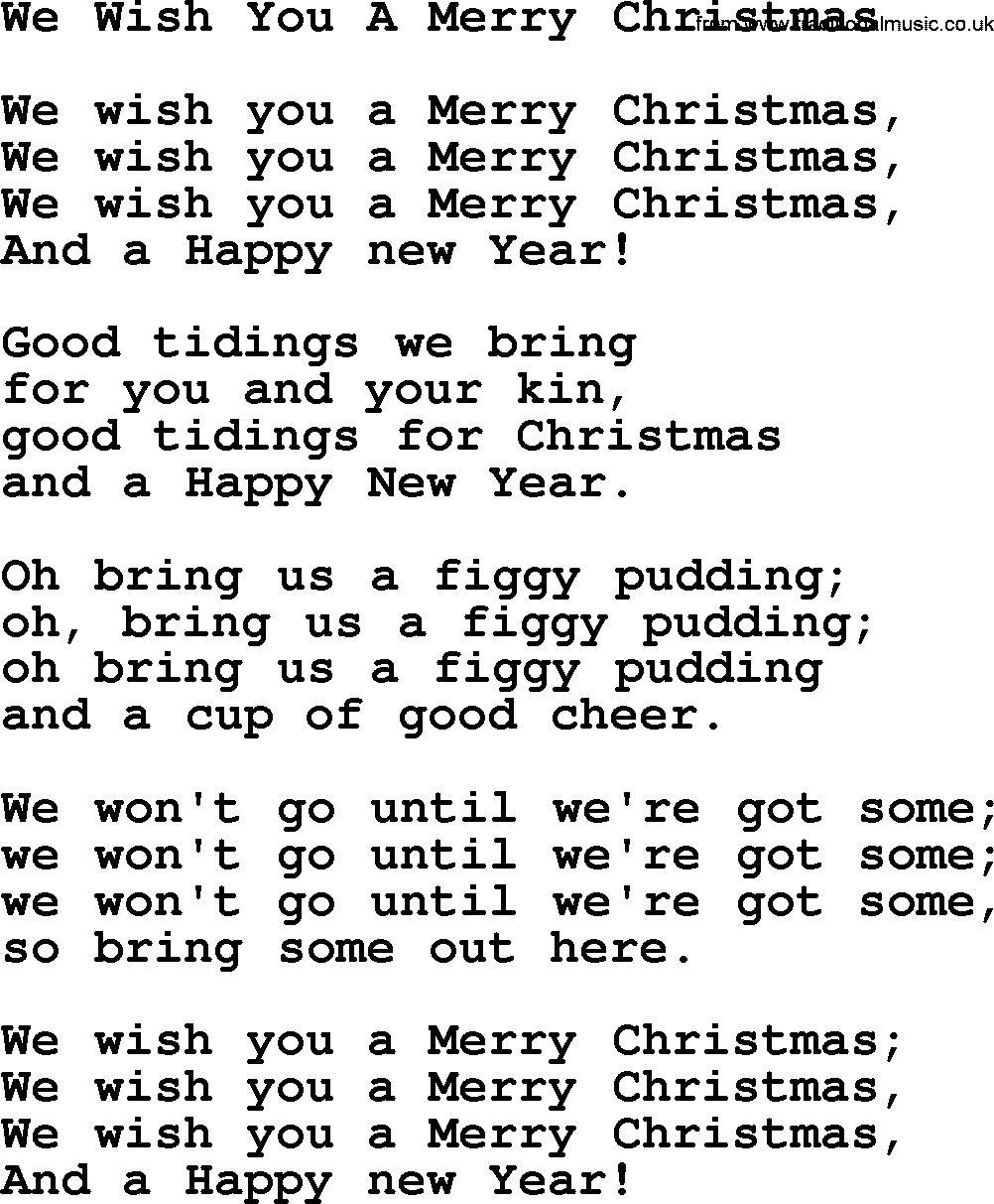 Lyrics We Wish You A Merry Christmas Traditional - LyricsWalls
