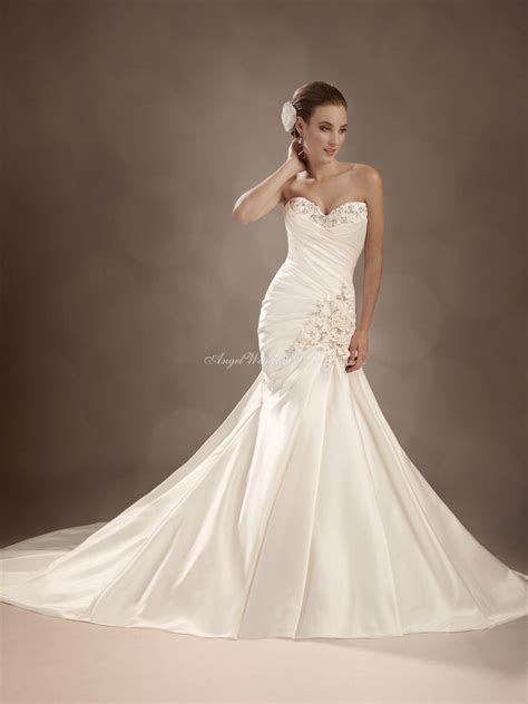 satin fit and flare wedding dresses   Satin Fit N Flare