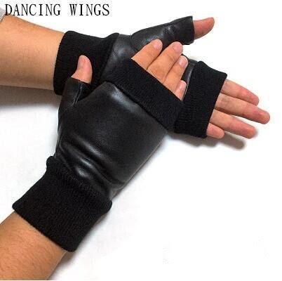 3aa4ca7c10935a Goede Koop Zwart Rood Lederen Handschoenen Ademend Hollow Out Outdoor  Rijden Echte Schapenvacht Vingerloze Goedkoop ~ lily-fique