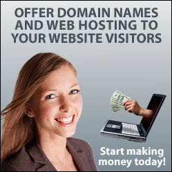 Offer domain names and web hosting to your web site visitors, and start making money today!