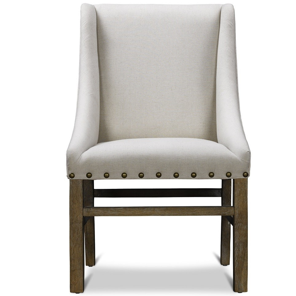incredible white upholstered dining chair beautified with nailhead for gorgeous dining area