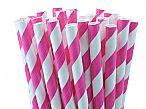 Paper Straws - Shocking Pink Stripes
