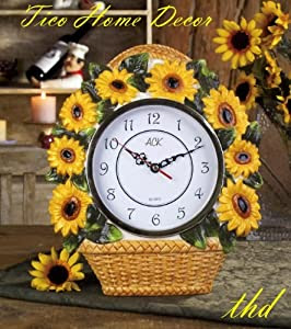 Amazon.com: Sunflower Yellow Basket Clock, Home & Kitchen Decor ...