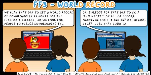 [fedora webcomic Firefox 3 world record]