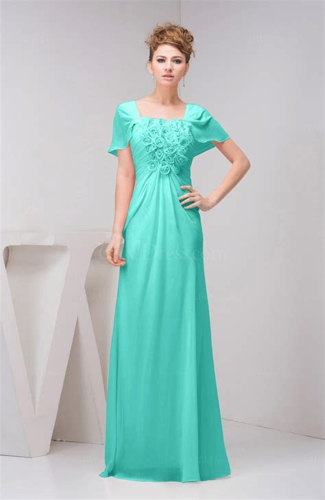 Blue Turquoise with Sleeves Bridesmaid Dress Chiffon Fall