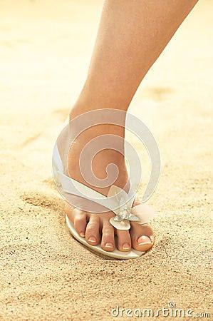 Woman Foot On Sand Stock Image - Image: 16807201