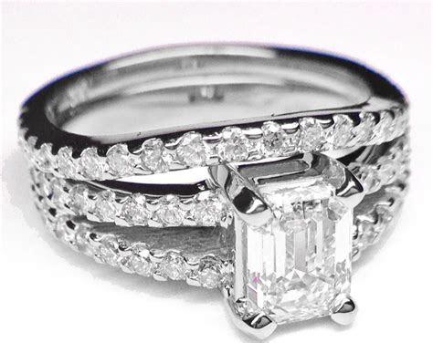 Engagement Ring  Emerald Cut Diamond Split Band Engagement