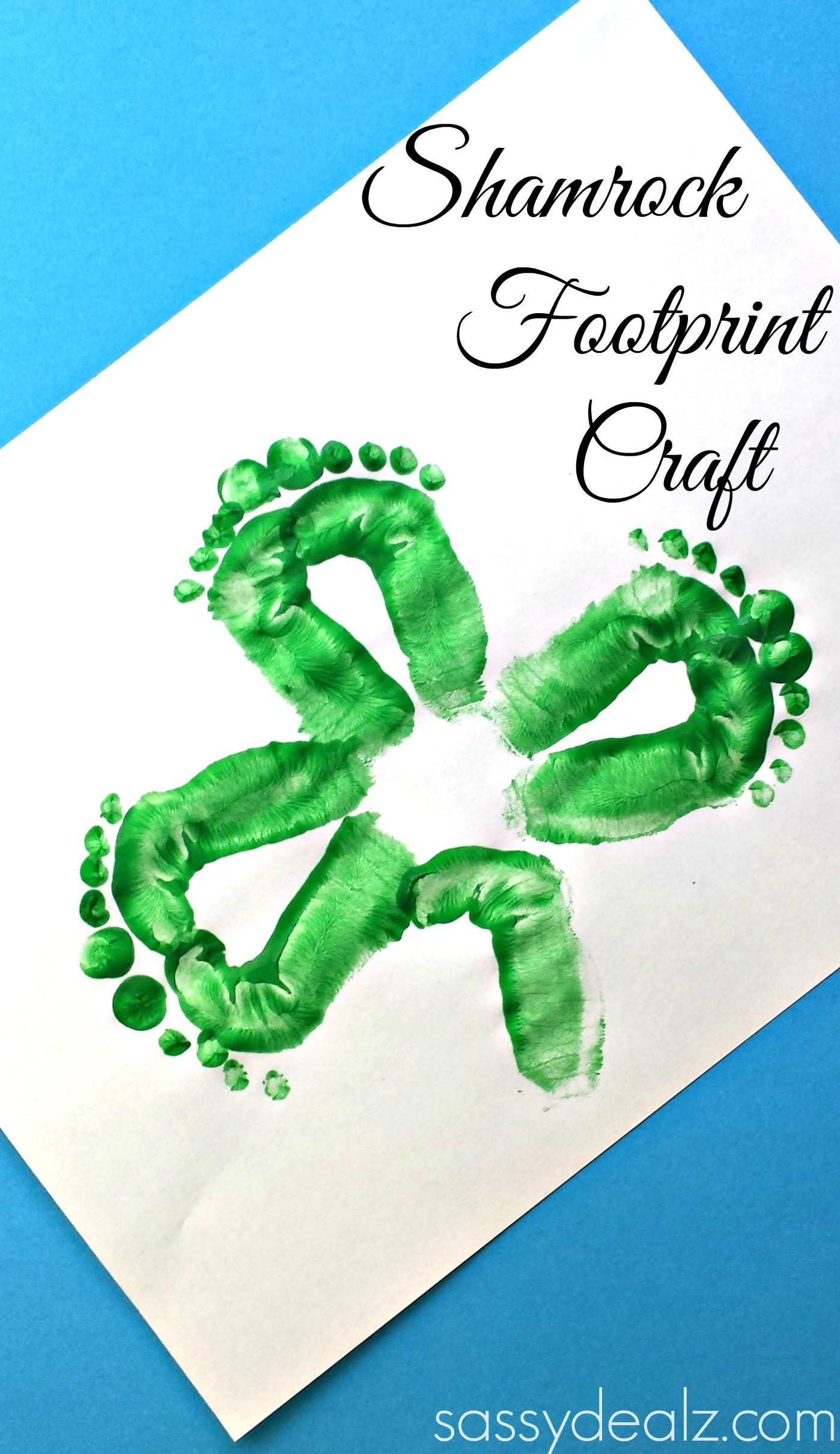 Kids Shamrock Footprint Craft For St Patricks Day Crafty Morning