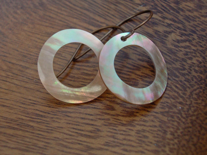 Halo Earrings- Golden Shell Circles on Vintaj Natural Brass Earwires