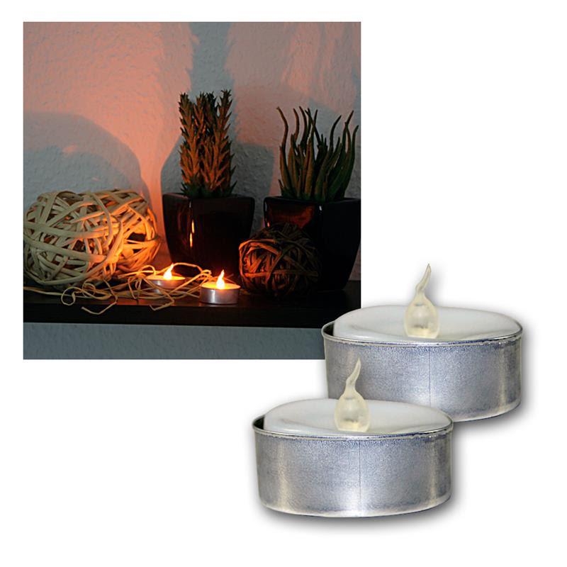 Set of 2 LED Tea Lights Flickering Tea Candle Tealight ...