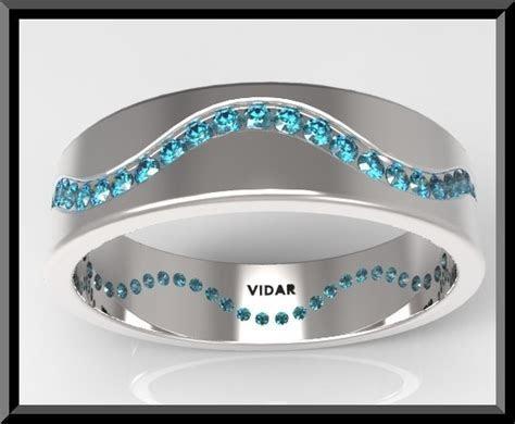 Mens Blue Diamond Wedding Band   Vidar Jewelry   Unique