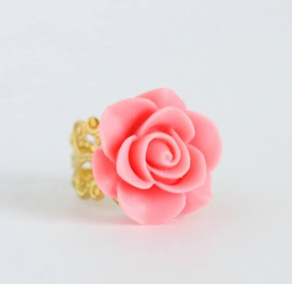 Pink Flower Ring - Gold Plated Adjustable Filigree Ring With Shocking Pink Flower