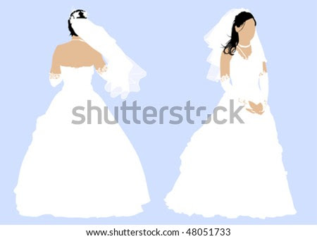 stock vector Vector drawing a girl in a wedding dress Back and front