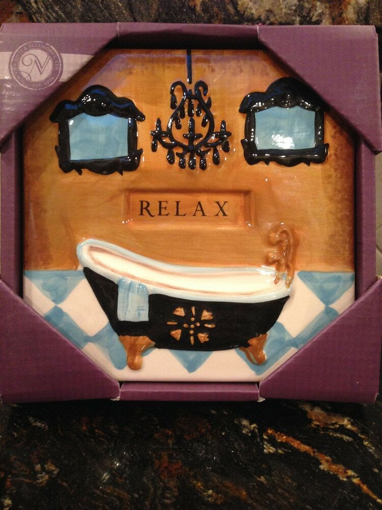 Wall Art Ceramic TILE Bath tub RELAX hang on BATHROOM ...