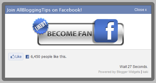 Popup Facebook Like Button with Timing