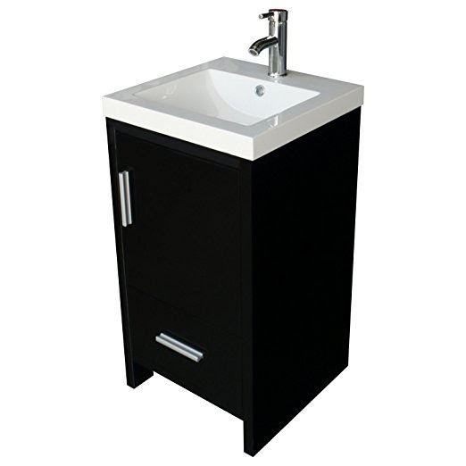 18inch Black Bathroom Vanity Mdf Wood Cabinet Resin Undermount Vessel Sink Set