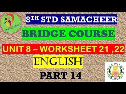 8th English Work Sheet 21 and 22 Bridge Course Answer Key