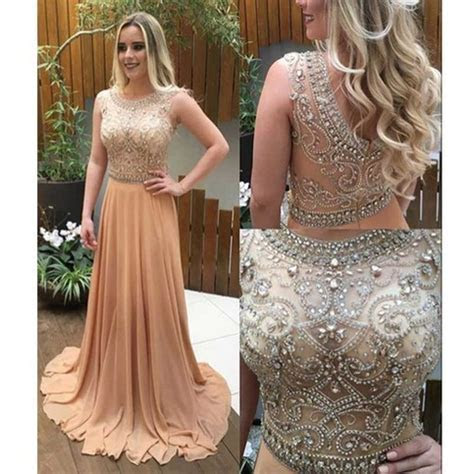 See through beaded prom dress, Long Champagne prom dresses